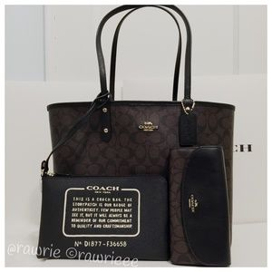 New Coach Reversible Tote & Pouch & Wallet Set